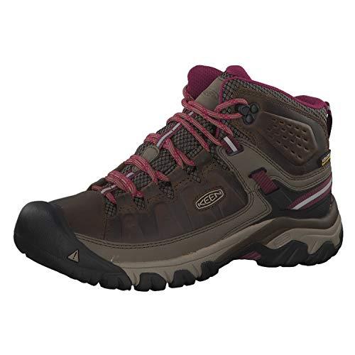 KEEN Women's Targhee 3 Mid Waterproof Hiking Boot, Weiss/Boysenberry, 11 M (Medium) US