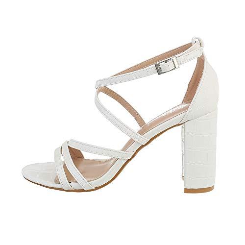 Ital Design Damenschuhe Sandalen & Sandaletten High Heel Sandaletten, Y662-, Kunstleder, Weiß, Gr. 39