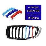 Para 4 Series F32 F33 420i 428i 435i 2013-2018 (9 Rejilla) 3D M Coche Rejillas Frontales Cubierta Pegatinas Enfriador Barbacoa Clip Cover