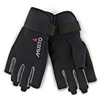 Musto Essential Sailing Short Finger Gloves in Black - Adults Unisex - Durable and Flexible Gloves for Summer Weather
