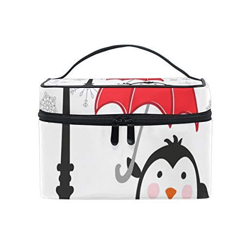 化粧ポーチ ペンギン 街 雪 かわいい 機能性 大きめ レディース コスメポーチ 便利 大容量 収納 旅行 収納 メイク道具 雑貨 小物入れ 使いやすい 化粧