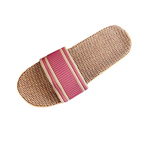 Damen Hausschuhe Anti-Rutsch Strandsandalen Leinen Home Slipper Indoor Open Toe Flache Schuhe Duschschuhe Strandschuhe, Rosa, 38-39 EU