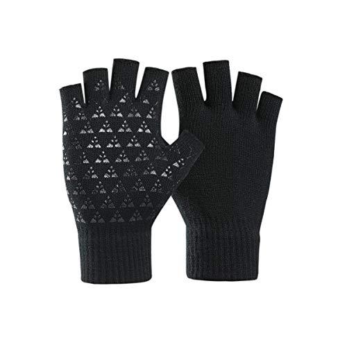 Guanti invernali senza dita unisex Donna Uomo Guanti in maglia da lavoro a mezzo dito Artrite da compressione elastica Comodo caldo - Nero