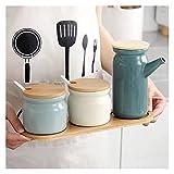 Adecuado para utensilios de cocina Conjuntos de cerámica Rack Saca Shaker Pimienta Vinagre Botella de aceite Azúcar Chili Condiment Caja Condimento Depósito de tanques de almacenamiento Cocina domésti