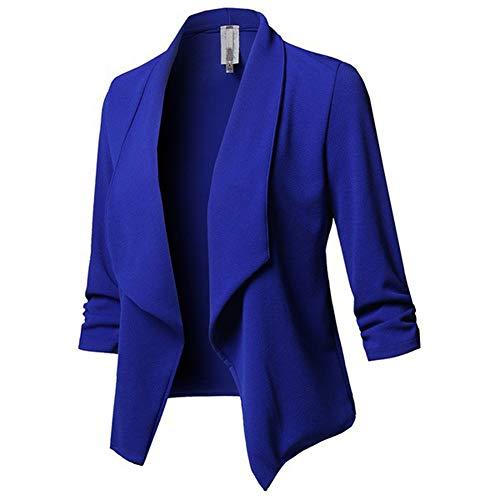 Chaqueta de Traje de Negocios para Mujer Blazers Solapa de Manga 3/4 Slim Fit Elegante OL Blázer sin Botones Primavera Color Sólido Cardigan de Oficina Casual Abrigo Outwear Azul 5XL