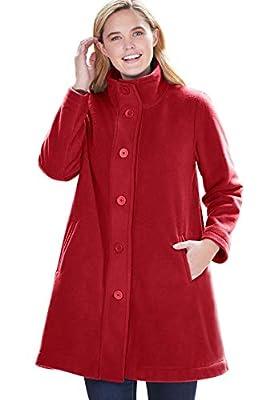 Woman Within Women's Plus Size Fleece Swing Funnel-Neck Coat - 1X, Classic Red