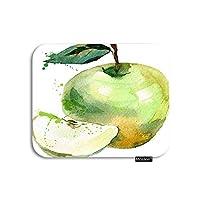 リンゴマウスパッド水彩オーガニックフルーツリンゴスライスシードリーフゲーミングマウスパッドラバー大型マウスパッドコンピューターデスクラップトップオフィスワーク7.9x9.5インチグリーンホワイト