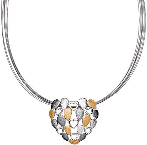 Perlkönig Kette Halskette | Damen Frauen | Matt Silber Gold Schwarz Farben | Gebürstet | Herzen | Tricolor | Nickelabgabefrei