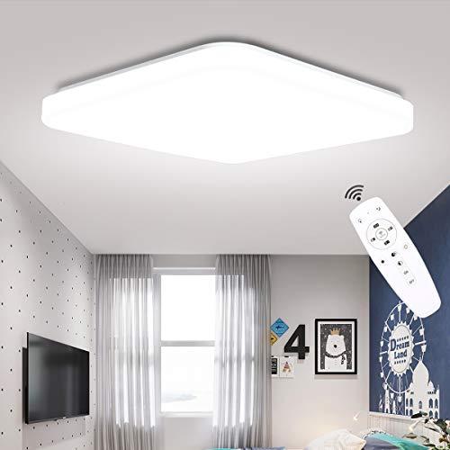 LED Deckenleuchte Dimmbar, SUNZOS 24W 2400LM Deckenlampe mit Fernbedienung, Lichtfarbe und Helligkeit Einstellbar, Lampe für Wohnzimmer, Schlafzimmer, Kinderzimmer, Küche, Esszimmer, 3000-6500K