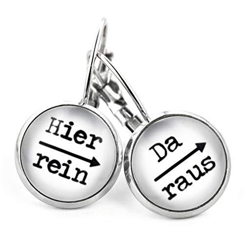 SCHMUCKZUCKER Damen Ohrhänger Spruch Hier rein Da raus lustige Edelstahl Ohrringe Silber Weiß