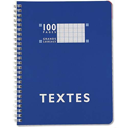 Calligraphe 352360C - Un cahier de texte à spirale (gamme 7000 de Clairefontaine) 100 pages 17x22 cm 70g grands carreaux, couverture carte offset, couleur aléatoire