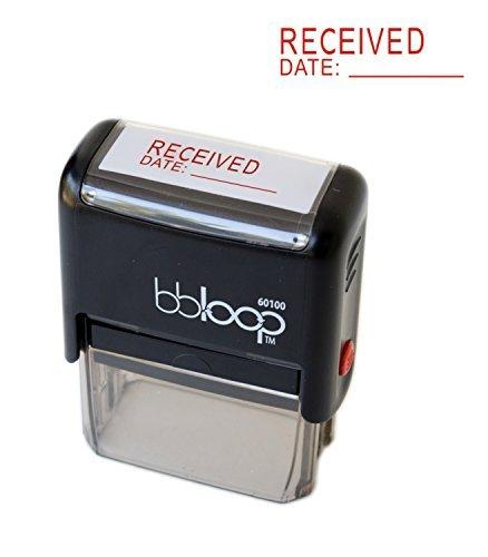 """BBloop Stamp""""Received"""". Self-Inking, Rectangular. RED Ink"""