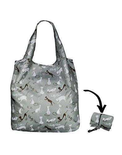 Re-Uz Lifestyle Shopper - pieghevole borse della spesa riutilizzabili - Catty Cat Powder Blue Gatti