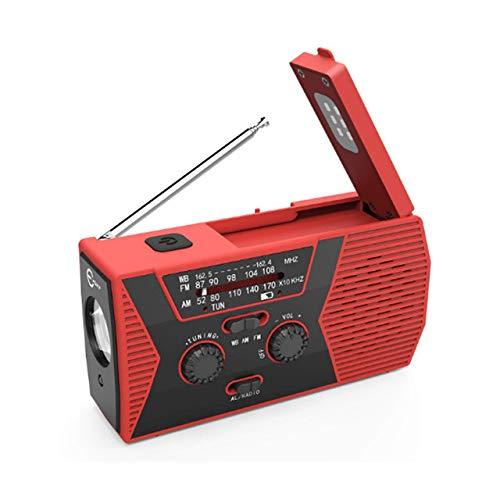 Radio de Emergencia Multifuncional, Radio de manivela Solar de Emergencia con Linterna LED, Cargador USB 2000mAh Power Bank, Alarma SOS para el hogar, Exterior