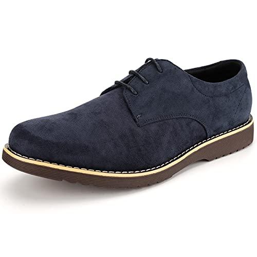 [KIXSTAR] カジュアルシューズ メンズおしゃれ オックスフォードシューズ 軽量 軽い レースアップシューズ スニーカー 靴 (ネイビー,25.0 cm)