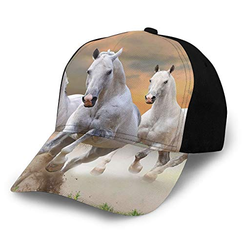 Fashion Animal Decor Stallion Horses Running On A Mystical Sky Background Equestrian Male Champions Print White Orange Plain Adjustable Baseball Cap Unisex Hat Sun Cap