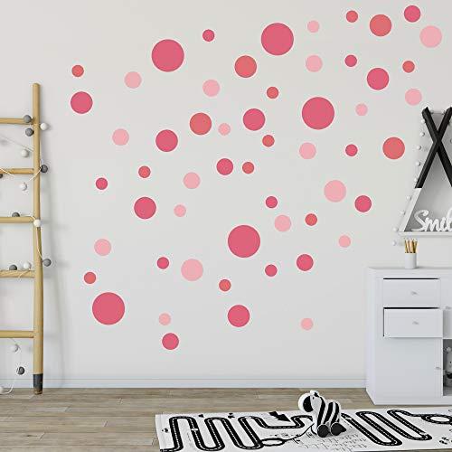 Homery Wandtattoo Kinderzimmer, 162 Stück Kreise Pastell Wandsticker selbstklebend - Wanddeko Aufkleber für Baby, Kinder oder Schlafzimmer (Rosa Pastell)