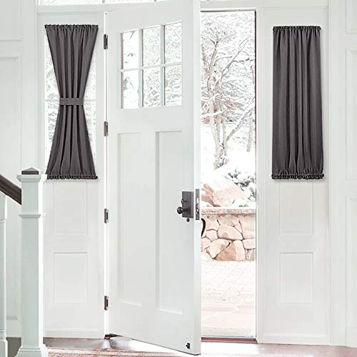 PONY DANCE Sidelight Door Curtain - Blackout Thermal Insulated Privacy Protect Window Curtains for Front Doors Including Bonus Adjustable Tieback, 25 by 40 inch, Grey, Single Panel