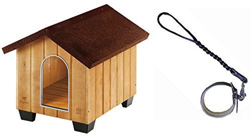 Montidistribuzione Cuccia per Cani Domus Mini. Ricovero a Casetta in Legno di Pino Nordico. Misure Canile cm 50 x 65 x H 47,5. con Il Rifugio in Omaggio 1 Treccia con Collare Imbottito di Cuoio Nero