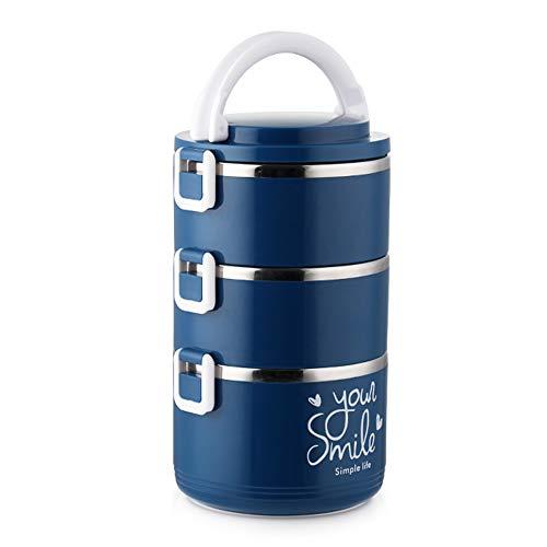 DSFHKUYB Fiambrera Apilable De 3 Niveles Extraíble De Acero Inoxidable Contenedor De Comida Portátil A Prueba De Fugas para Hombres Y Mujeres,Azul