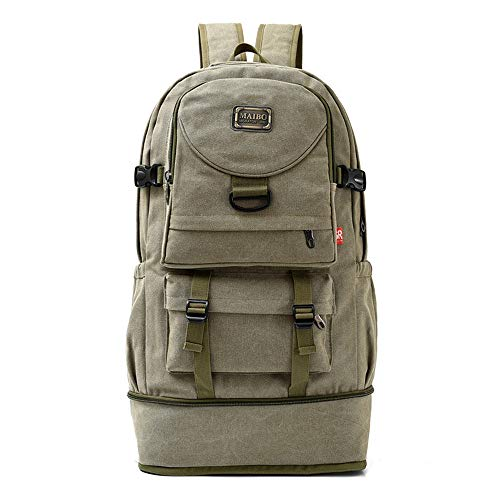 BackpackMountaineering Trekking Outdoor Sports BackpackTravel Hiking Extra Large Casual DaypackCanvas Men Women Army Green 35x20x61cm14x8x24inch