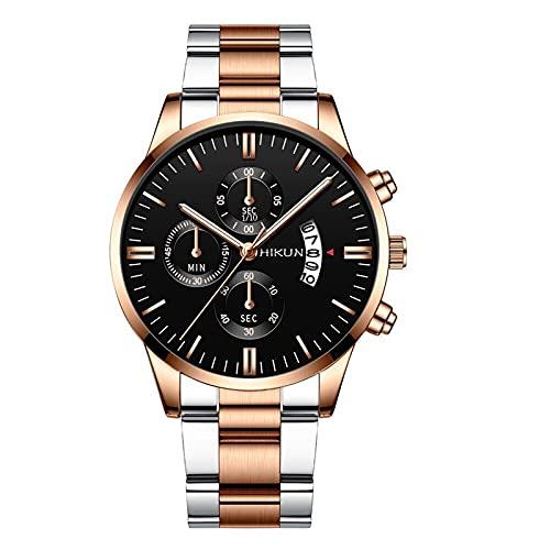Moda de Lujo Correa de Acero Inoxidable Reloj de Regalo de Cuarzo para Hombre Reloj Digital para Hombres Relojes a Prueba de Agua(Modelo A)