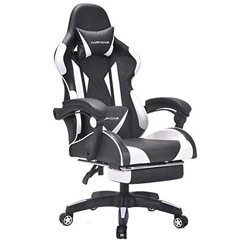 BTPDIAN Asiento de trabajo Gerente de silla de E-Sports Gaming oficina Silla sillas de escritorio de ordenador ergonómico Directiva de la Asociación de altura ajustable con reposacabezas y soporte lum