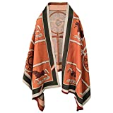 EXTREE Scarfs for Women Pashmina Silky Shawl Wrap for Evening Dressing Horse Scarf Blanket Open Front Poncho Cape