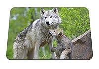 26cmx21cm マウスパッド (オオカミの子カップル思いやりのある家族) パターンカスタムの マウスパッド