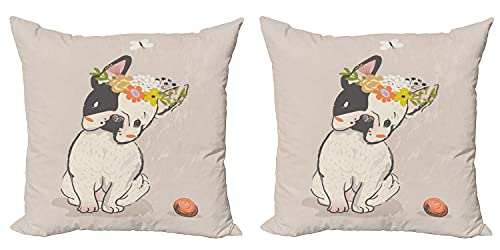 Lunarable Dog Throw Pillow Cushion Cover Pack of 2, Hand Drawn French Bulldog Wreath on Its Head Watercolor Domestic Pet Illustration, Zippered Double-Side Digital Print Decor, 16', Multicolor