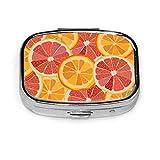 Estuche organizador de píldoras, Color Citrus Juicy Fruit Orange Pomelo Caja de píldoras portátil Pequeño contenedor de píldoras para monedero o bolsillo, Caja de píldoras cuadrada (2 compartimentos)