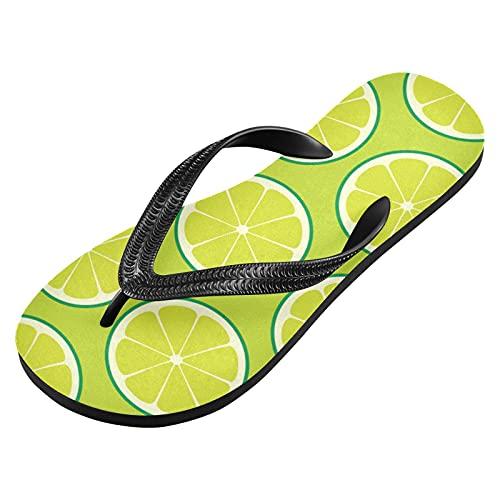 Green Lemons Flip Flops Slippers Print Sandals Beach Slippers For Men and Women's With Anti-Slipping Sole