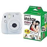 Fujifilm - instax mini 9 - Pack d'Appareil photo instantané avec 1 Film Monopack - Blanc & Fujifilm - Twin Films pour instax mini - 86 x 54 mm - Pack 2 x 10 Films