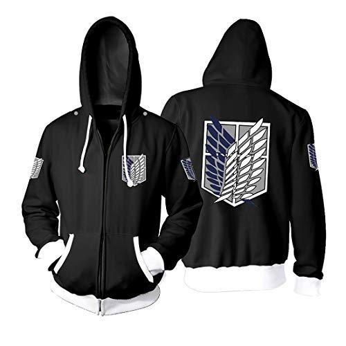 Unisex Sudadera con Capucha Attack on Titan Fans Sweatshirt Hoodie para Mujer Hombre Cremallera Manga Larga Impresión Suéter Pullover Otoño Invierno Caliente