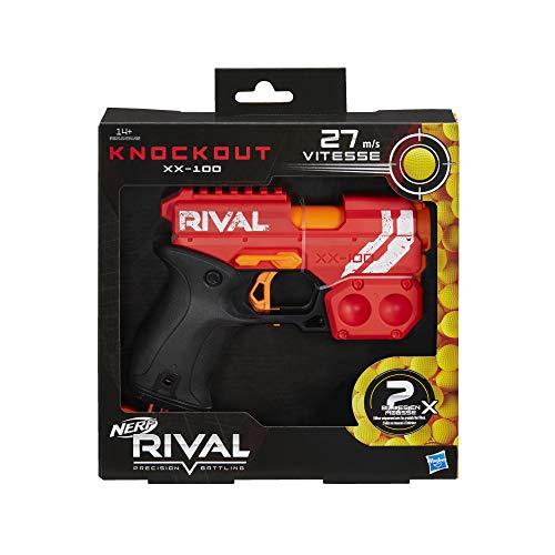 Nerf Knockout XX-100 Rojo y Bolas de Espuma Rival Oficiales, Color (Hasbro E6218FR0)