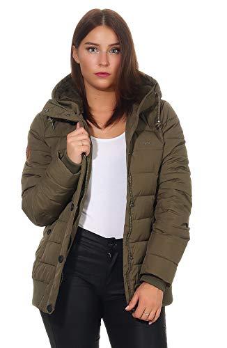 mazine Damen Winterjacke Penny Down Jacket Steppjacke m.Kapuze Stehkragen Anorak Olive XXL
