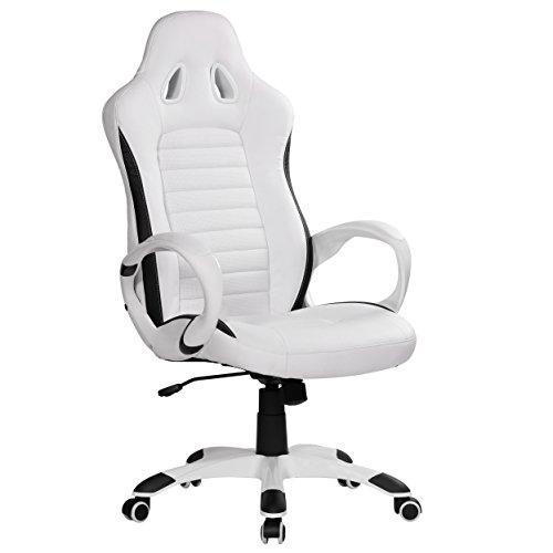 Amstyle Racer Racer Gaming bureaustoel met armleuning bekleed racer sportstoel draaistoel hoofdsteun race bureaustoel gamer design modern draaistoel racing wit