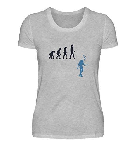Shirtzshop - Maglietta da donna con motivo evoluzione subacquea Grigio (mélange). L