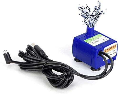 RIOGOO Pompa dell'Acqua sommergibile per Fontana per Animali Domestici da 2,5 Litri con Luce a LED con Cavo di Alimentazione, Fontana per Gatti di Ricambio con Pompa