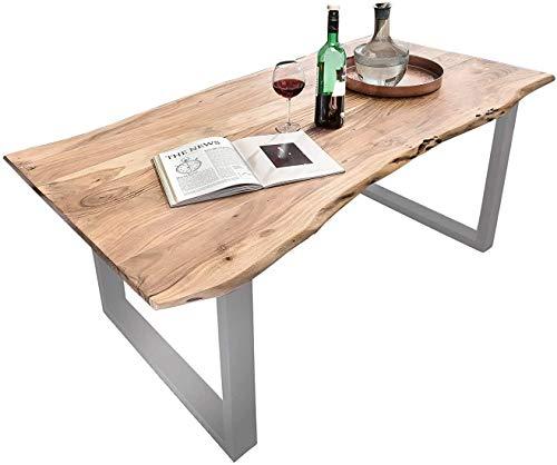 SAM Baumkantentisch 240x100 cm Quarto, Esszimmertisch aus Akazie, Holz-Tisch mit Silber lackierten Beinen