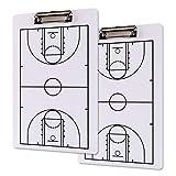 Jucoan Paquete de 2 portapapeles para entrenador de baloncesto, borrado en seco, doble cara, completo y Haft Court, tabla táctica de 33 cm x 20 cm