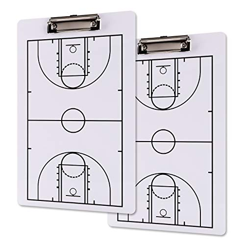 Jucoan 2 Pack Basketball Coach Clipboard, 13-3/4 x 8-3/4 Inch Dry Erase Double-Sided Full and Haft Court Coach Marker Tactic Board Idaho