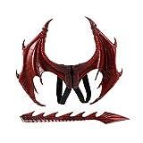 Proumhang Disfraz de Demonio Cosplay Alas de dragón con Cola Disfraz de Carnaval de Mardi Gras de Halloween-Rojo