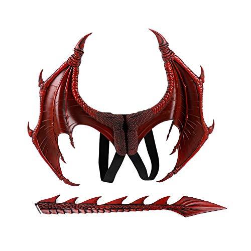 Proumhang Disfraz de Demonio Cosplay Alas de dragn con Cola Disfraz de Carnaval de Mardi Gras de Halloween-Rojo