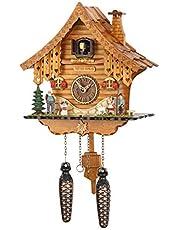Cuco Reloj Heidi de casa de Selva – En el Bosque Negro de Estilo – Fabricado en Alemania – En Cerezo Lacado Carcasa de Madera, LIEBEVOLL gestaltet – Cuarzo