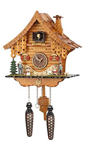 SELVA Kuckucksuhr Heidi-Haus Schwarzwald-Stil – Made in Germany – In Kirschbaum lackiertes Holzgehäuse – Für Kuckucksuhren-Liebhaber genau das Richtige! (Höhe: ca. 26 cm) - C337474