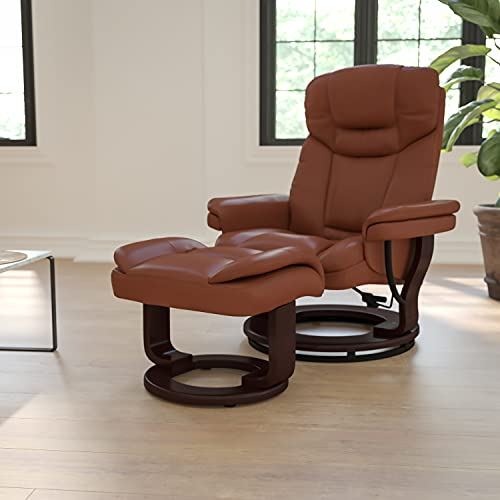 Flash Furniture Contemporary Multi-Position Recliner and Curved Ottoman with Swivel Mahogany Wood Base in Brown Vintage LeatherSoft