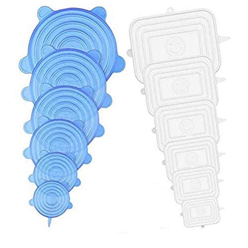 FreeBiz Silikon Frischhalte Deckel, 12er Silikon Abdeckung in Verschiedenen Größen, BPA Free Wiederverwendbare Dehnbare Silikondeckel für Schüsseln, Becher, Dosen, Töpfe, Gläser (Rechteckig und Rund)