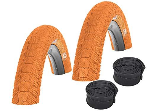 KENDA Juego de 2 neumáticos BMX de color K907 Krackpot naranja 20 x 1,95 + 2 cámaras de aire de coche