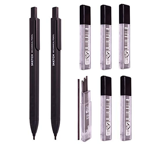 Sketch Flat Lead 1.8 mm Holder Pen Mechanical Pencil for Draft Drawing, Art Sketching/Calligraphy/Marking (1.8 mm 2B Lead 6 Tube) Graphite Lead Refill/Gift Box